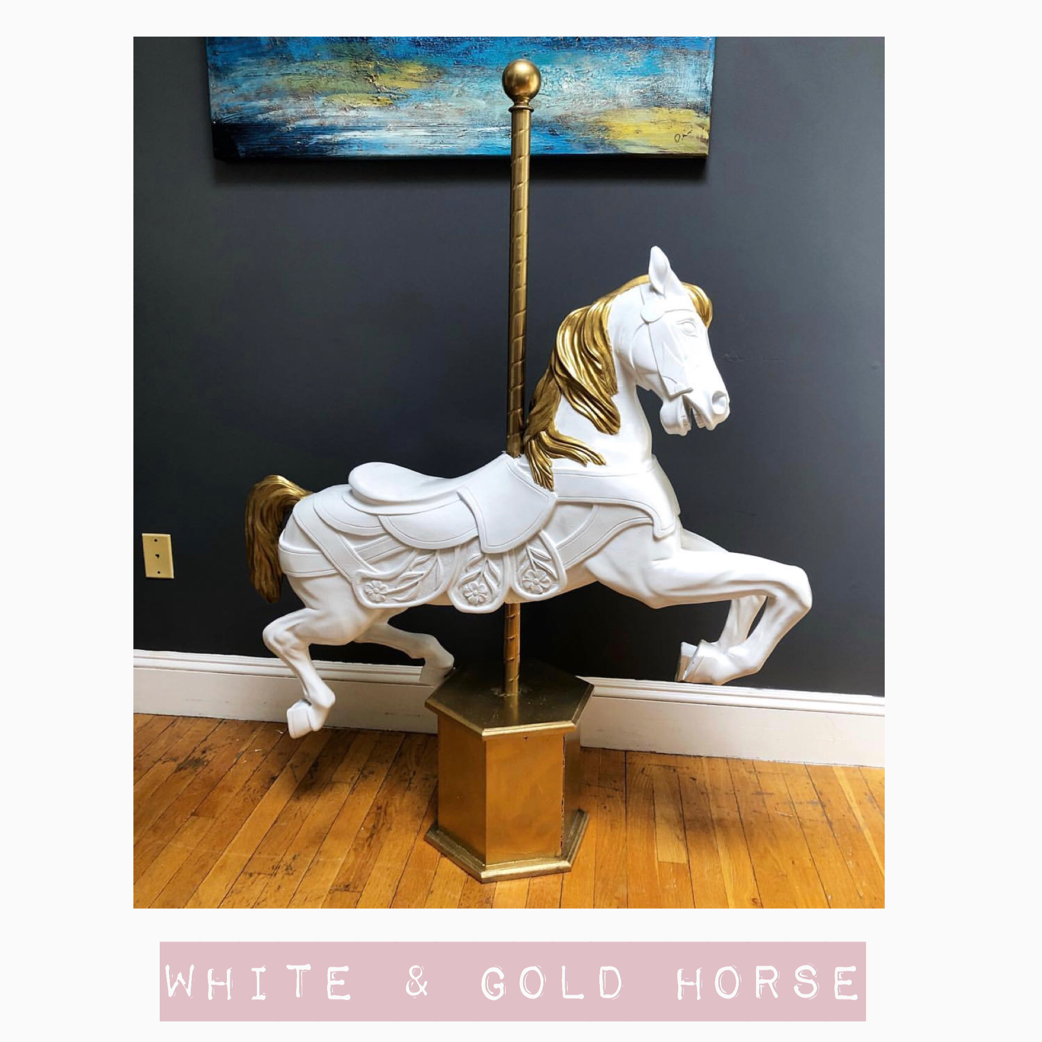 White Gold Carousel Horse Party Perfect Make your party perfect